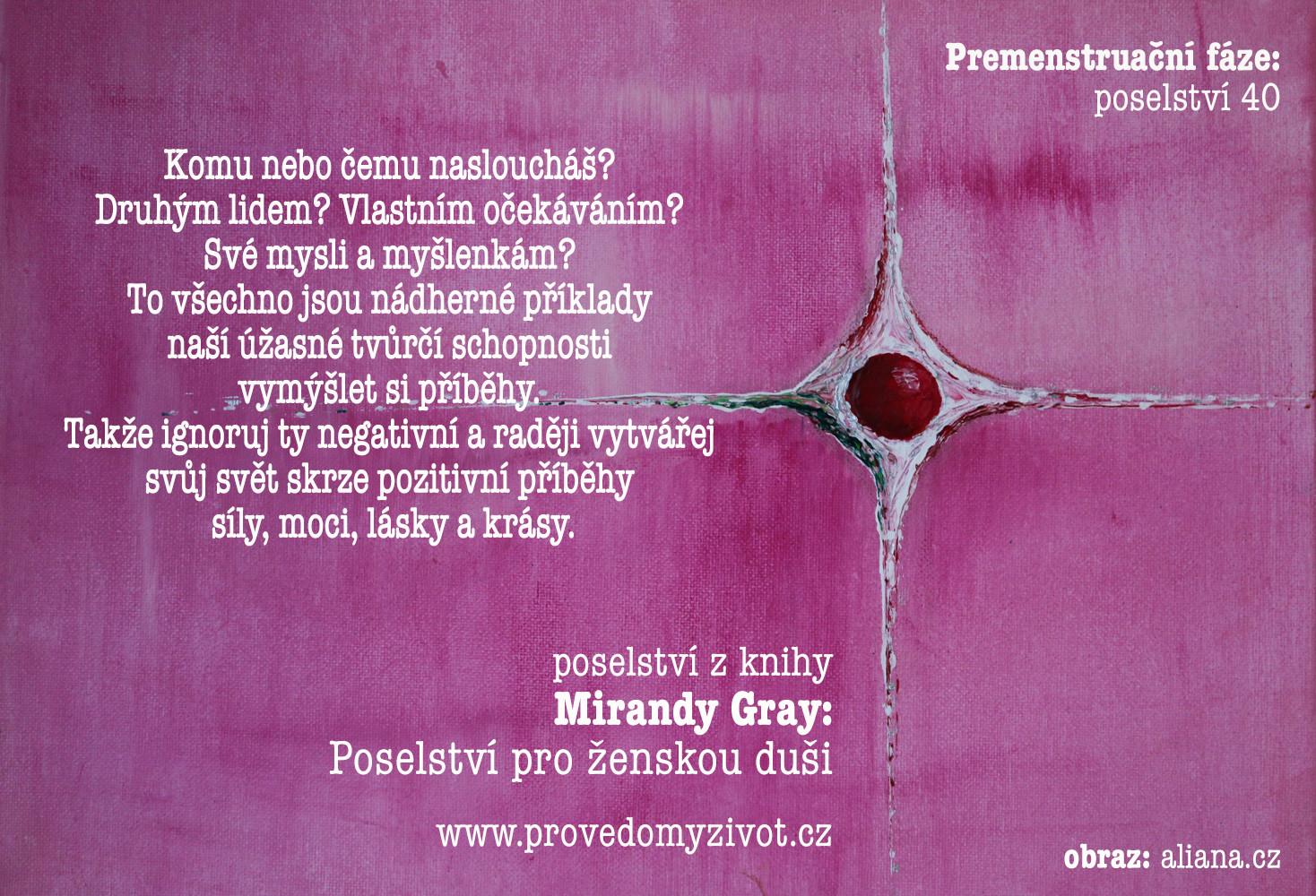 Poselství pro ženskou duši, premenstruační fáze